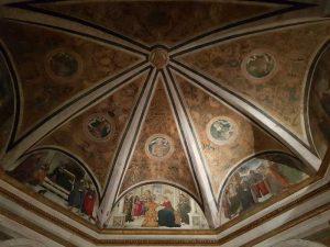 Santa Maria del Popolo, Cappella Basso della Rovere, Volta con grottesche e busti di profeti. Nelle lunette, scene della vita di Maria
