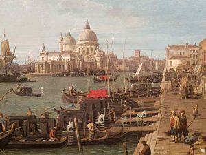 Canaletto, Il molo verso ovest, con la colonna di San Teodoro a destra, Venezia - dettaglio del molo
