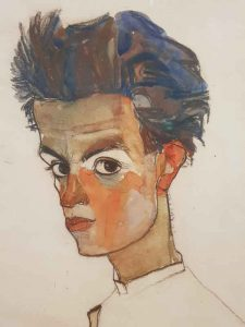 Egon Schiele, Self-portrait with striped shirt - dettaglio